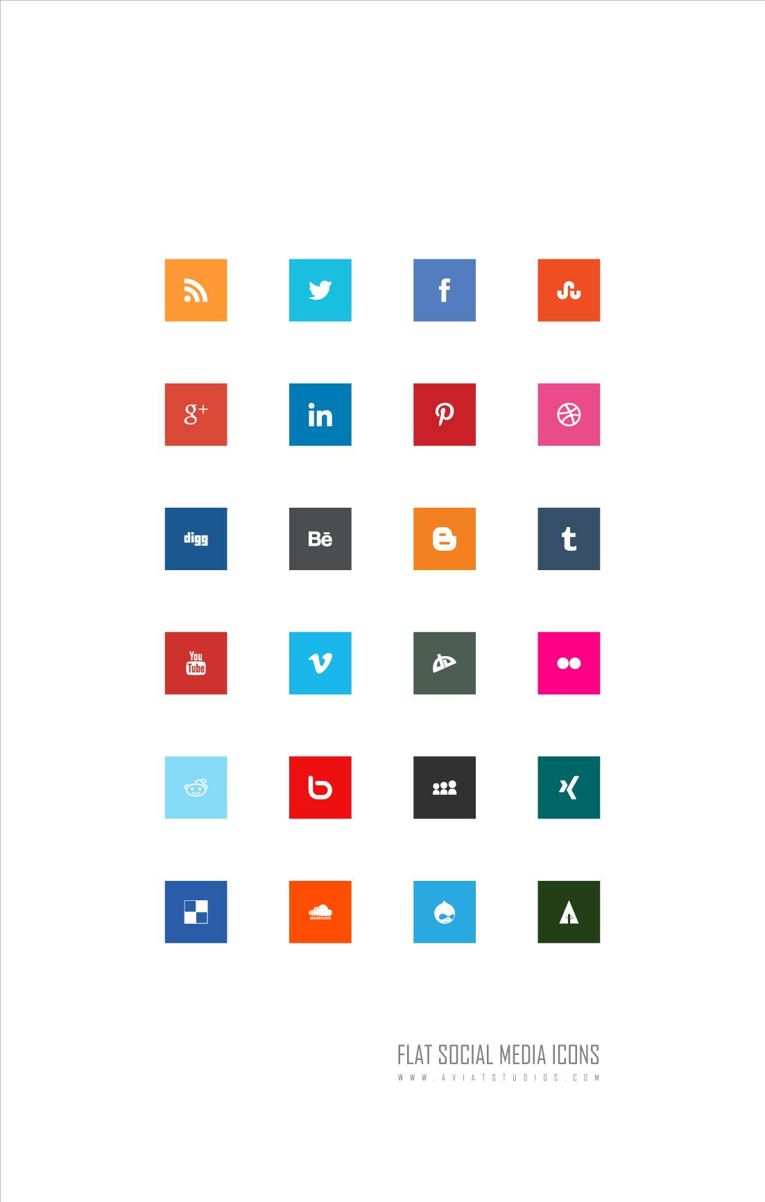 Free Flat Social Media Icons