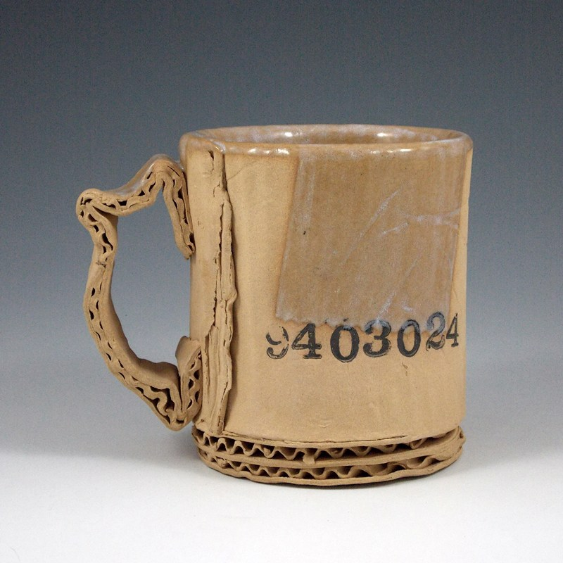 Ceramic Mugs Imitating Used Cardboard by Tim Kowalczyk