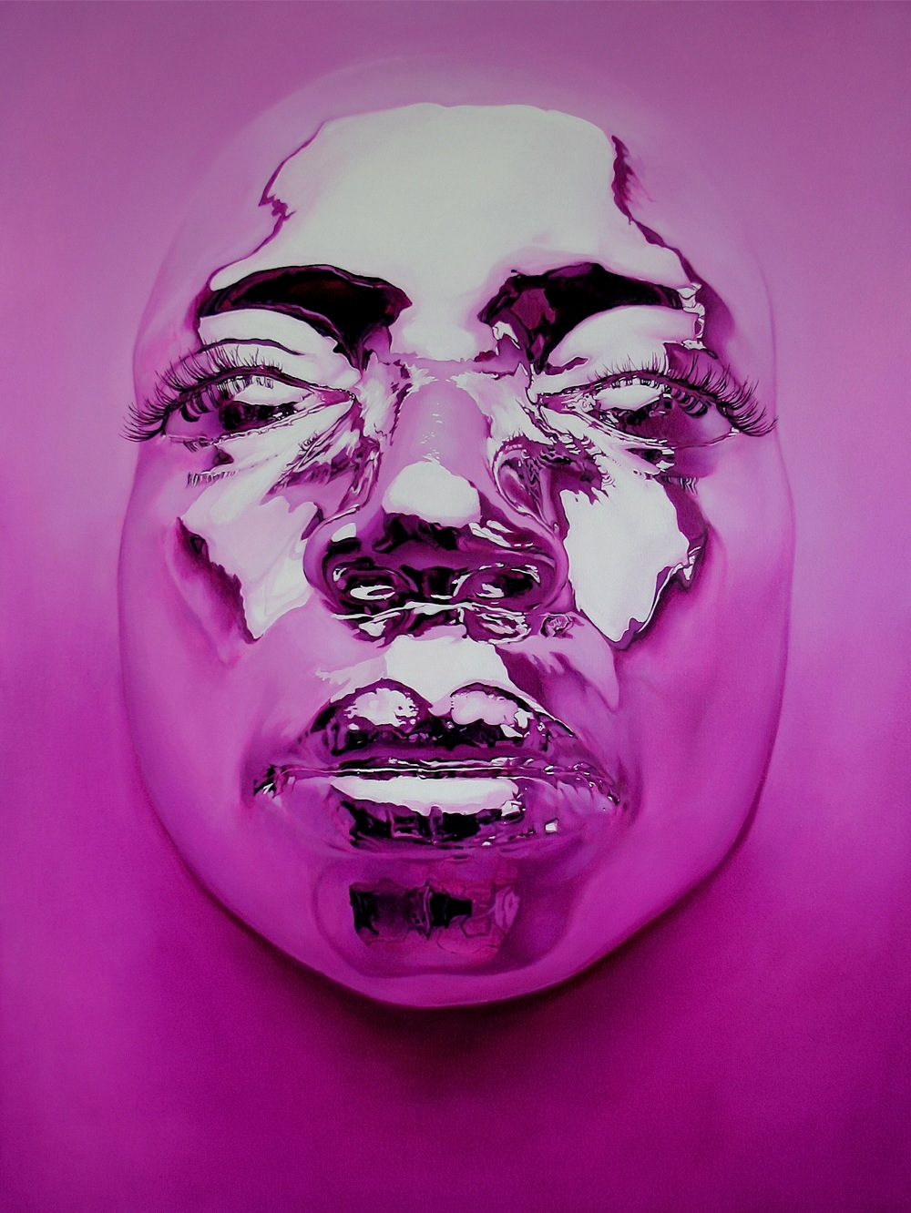 Hyper-realistic Chrome Mask Paintings by Kip Omolade