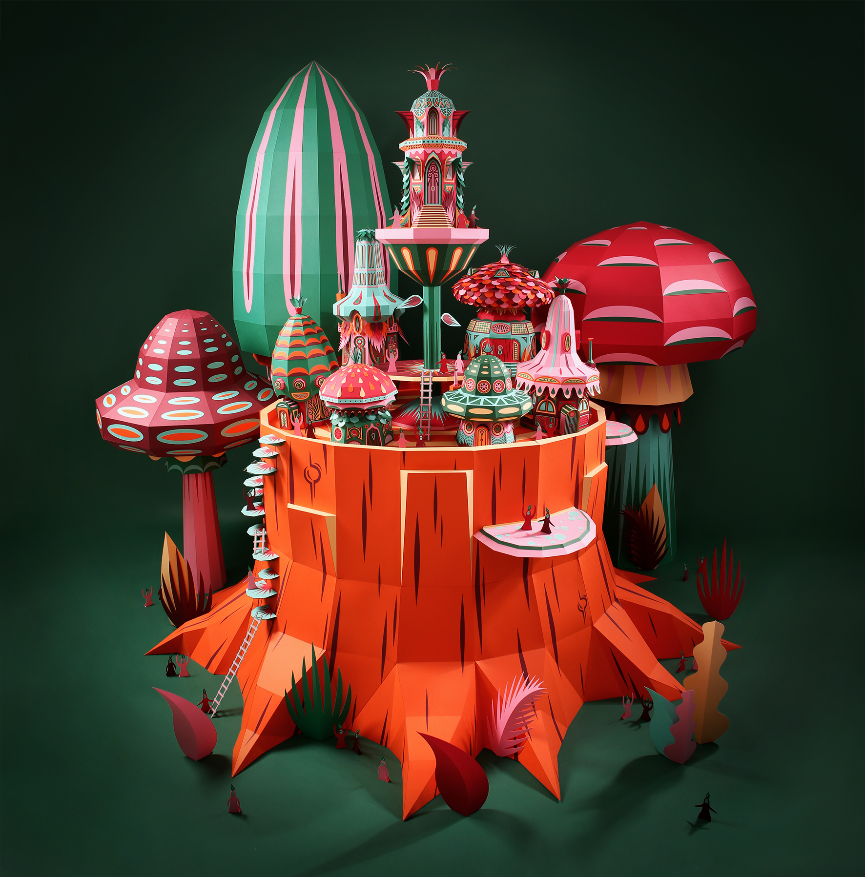 Paper Sculpture Village for Hermes by Zim & Zou