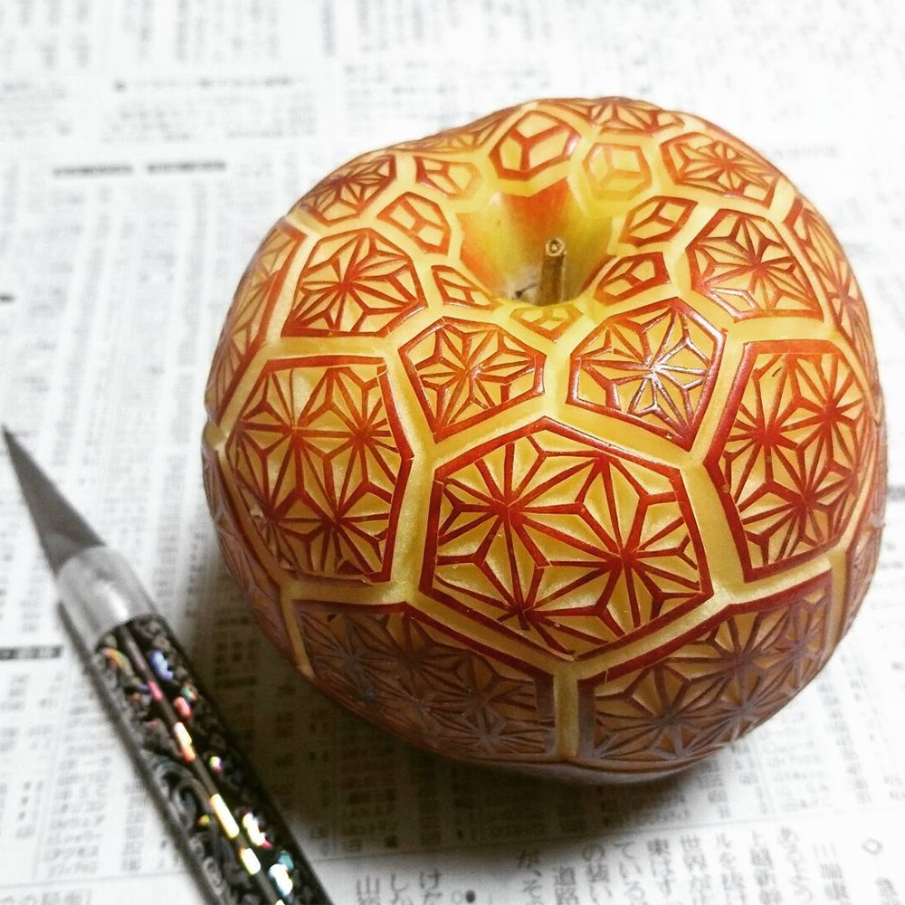 Geometric Patterns Carved on Vegetables and Fruits by Gaku